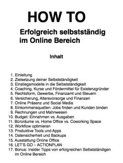 eBook Inhalt HOW TO Erfolgreich selbstständig im Online Bereich